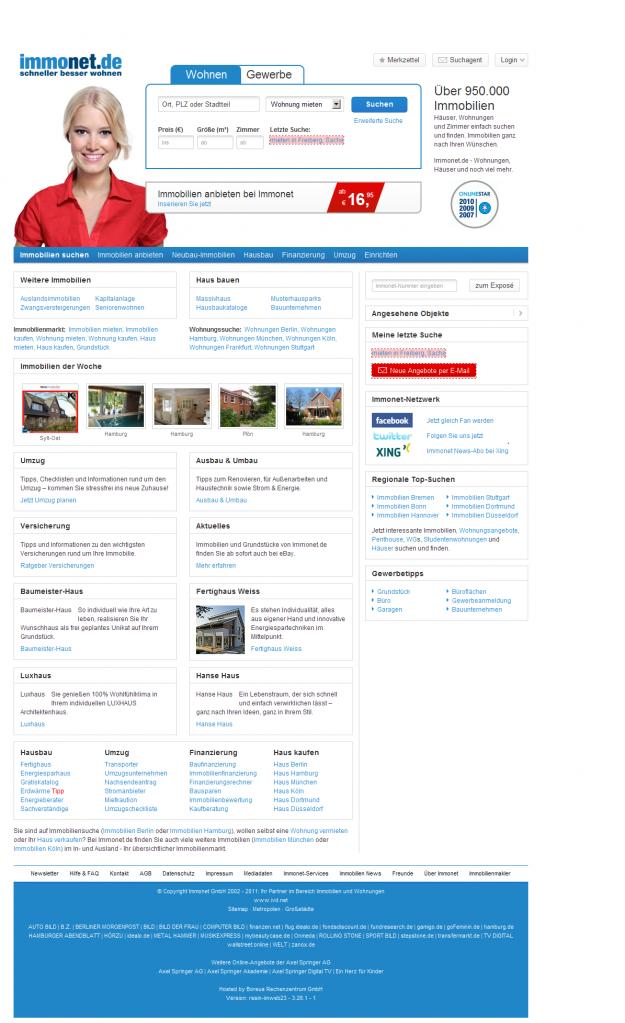 Immonet.de Startseite Relaunch